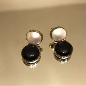 Sterling Silver 925 Faux Pearl Onyx Earrings